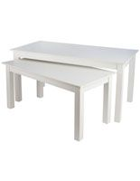 "Nesting Tables, Rectangular, Set of 2, 72"" Wide Large Table - White"