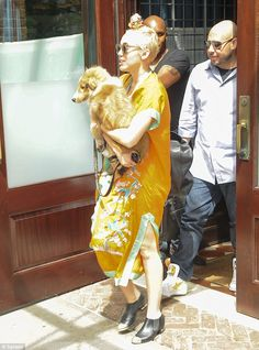 Miley Cyrus - With her Rough Collie, Emu in New York City.  (August 2014)