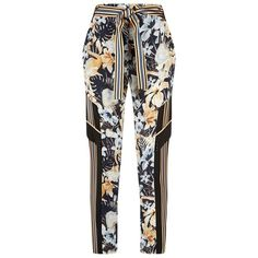 Escada Sport Timotas Floral Print Trousers (6 795 ZAR) ❤ liked on Polyvore featuring pants, white trousers, escada sport pants, floral printed pants, floral trousers and floral print pants