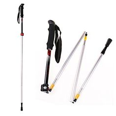 Collapsible Trekking Poles, Walking Sticks Fold Lightweight Adjustable Shock-Absorbent Carbon Fiber Hiking,Quick Locks All Terrain Accessories and Carry Bag Ultralight - Perfect for Snowshoeing *** See this great product.
