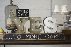 Marquee LED Light, Metal Yes Sign, Industrial Letters, Battery Operated, 8 inch