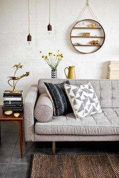 21 Shelving Ideas. Messagenote.com Monochrome mustard + hanging shelf.