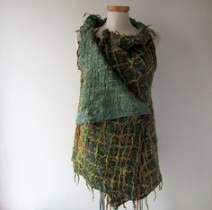 Green Felted wool reversible vest
