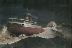 """Painting of the Edmund Fitzgerald titled """"Every Man Knew"""" by David W. Conklin"""