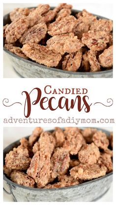 Perfectly crunchy, sweet and delicious candied pecans. Find the recipe for this easy make-ahead Christmas treat. #cinnamonsugarpecans #candiedpecans #christmascandy #adventuresofadiymom #howtomakecandiedpecans Pecan Recipes, Candy Recipes, Holiday Recipes, Snack Recipes, Cooking Recipes, Dessert Recipes, Recipe Treats, Holiday Meals, Christmas Recipes