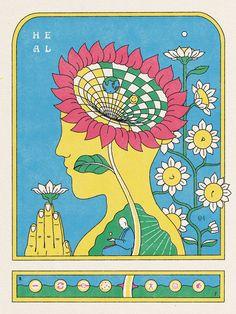 Funky Art, Retro Art, Graphic Design Posters, Graphic Design Typography, Wal Art, Art Folder, Art Moderne, Psychedelic Art, Foto E Video
