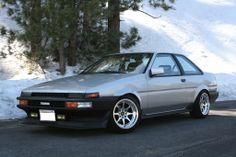 silver ae86 coupe on wed sports