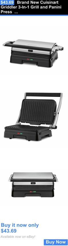 Small Kitchen Appliances: Brand New Cuisinart Griddler 3-In-1 Grill And Panini Press Gr-11 Black Silver BUY IT NOW ONLY: $43.69