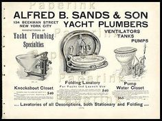 Antique Maritime AD 1902 Yacht Plumbing Pumps Sink Urinal Alfred B. Sands NYC