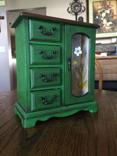 $99. Shabby Chic, Upcycled, Vintage, Green, Hand Painted, Wooden Jewelry Box, Jewelry Armoire