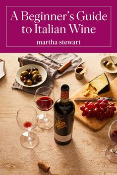 A Beginners Guide to Italian Wine | Wine plays a key role in Italys food culture. Bread, wine, and olive oil are the countrys culinary staples, and wine is seen as a part of the table, with the whole family sharing bottles from local wineries. Get up to speed on the basics of Italian wine by exploring these four iconic wine regions via a few good bottles.  #wine #italy #marthastewart