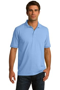 Port & Company 5.5-Ounce Jersey Knit Polo. KP55 Light blue