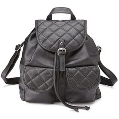 Charlotte Russe Black Quilted Faux Leather Backpack by Charlotte Russe... (451590 BYR) ❤ liked on Polyvore