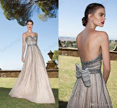 Free shipping, $157.07/Piece:buy wholesale  Gorgeous A line Prom Party Dresses With Beading Crystal Tarik Ediz Couture Spring 2015 Sweetheart Evening Long Chiffon Women Gown With BowPear,2015 Spring Summer,Floor-Length on ballydress's Store from DHgate.com, get worldwide delivery and buyer protection service.