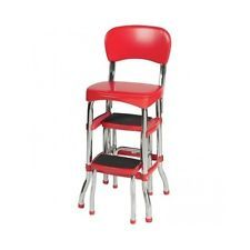 Red Retro Stool Fold Out Steps Classic Kitchen Chair Old Fashioned Counter Seat