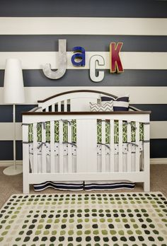 Ideas for Nursery Name Art: Use Vintage Letters #nursery #walldecor