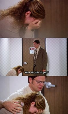 "pam and dwight are seriously the best. ""So you're PMSing pretty bad, huh?"" Such a sweet moment between Pam and Dwight. Best Of The Office, The Office Show, Pam The Office, Office Cast, The Office Dwight, Michael Scott, Dundee, Office Jokes, Office Wallpaper"