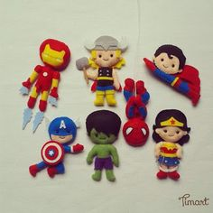 capitão américa em feltro, heróis em feltro, homem aranha em feltro, hulk em feltro, mulher maravilha em fetro, super homem em heróis em feltro, thor em feltro, heroes felt parte 1
