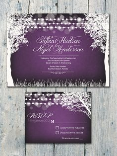 Purple Chalkboard Garland Garden #Wedding #invitation by WeddingSundae on Etsy,