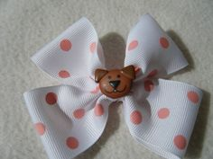 White and Pink Polka Dot Dog Hair Bow  by KraftyGrannysHome, $4.00