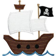 Pirate Ship Applique Machine Embroidery Design by HappyApplique Applique Templates, Applique Patterns, Applique Quilts, Applique Designs, Embroidery Applique, Machine Embroidery Designs, Quilt Patterns, Pirate Theme, Pirate Party