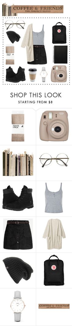 """""""Rly cute girl at the coffee shop"""" by alternativexpunkxwhatever ❤ liked on Polyvore featuring H&M, Fujifilm, Weston, Timberland, Topshop, Monki, The North Face, OUTRAGE, Fjällräven and CLUSE"""