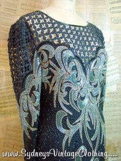 Flapper Gatsby 1920s Style Vintage 80s Bead Evening Dress S/M