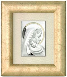 Srebrny obraz Matka Boska z Dzieciątkiem w pięknej ramie, stanowi doskonały prezent dla nowożeńców z okazji ślubu. #jubileusz #slub #podziekowania_dla_rodzicow
