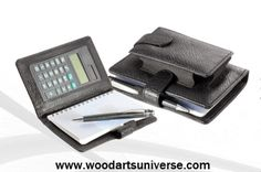 Leather Jotter Pad Calculator and Cell Phone Holder  WAURWGNG6360  http://woodartsuniverse.com/catalog/product_info.php?cPath=44&products_id=451
