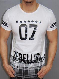 K d men s 07 rebellion stars slim fit asymmetrical t-shirt - white 3c1da9b5231ac