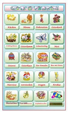 Bildwörterbuch zu Ostern - DaF Arbeitsblätter