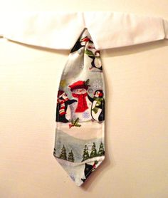 Shirt Collar & Neck Tie - Christmas Shirt Collar - Penguin and Snowman by katiesk9kollars on Etsy
