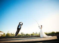 Fishing theme wedding photography