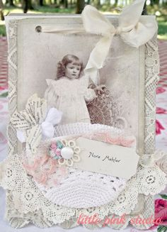 """*Tutorial* for vintage-style journal, covered with fabric and lace, and embellished with antique photo, crocheted coaster """"pocket"""", and vintage trims"""