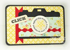 "Debbie Carriere created this card for a project life filler.  ""This is the Behind the Camera Die-namics & stamp set from MFT paired with Sidewalks from October Afternoon.  I stamped the ""click"" on a Chat Bubble."