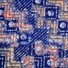 Batik Fabric Blue Beige & Orange Craft, City Photo, Fabrics, Textiles, Beige, Orange, Sewing, Tejidos, Dressmaking