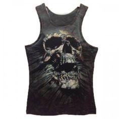 T-shirt Debardeur effet 3d SKULL Style tete de mort Rock Tatoo Swag Men Fashion