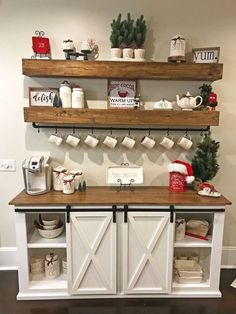 Home #Coffee #Bar #designs Add doors in front of the bookshelves on the coffee bar?