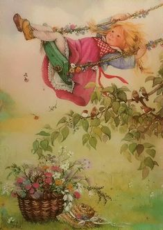 """Every now and then, when the world sits just right, a gentle breath of heaven fills my soul with delight"" ~ Hazelmarie Elliott - Illustration/Painting by Lisi Martin Vintage Cards, Vintage Postcards, Vintage Illustration, Creation Photo, Spanish Artists, Holly Hobbie, Whimsical Art, Vintage Pictures, Vintage Children"