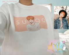 BTS Watercolor orange haired Suga crewneck sweatshirt  © Design by Yoomint