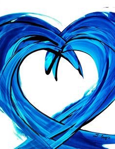 Heart Hearts Blue Abstract Painting Art Love by terracegallery, $125.00