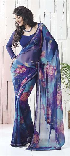 Printed Sarees, Faux Georgette, Printed, Blue Color Family32