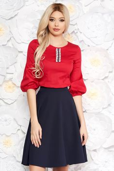 StarShinerS red women`s blouse with tented cut thin fabric with puffed sleeves office, tented cut, puffed sleeves, 3/4 sleeves, thin fabric