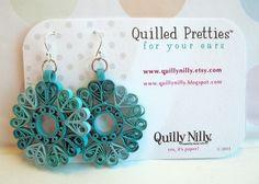 Paper Quilled Earrings Sophie in Ocean Teals