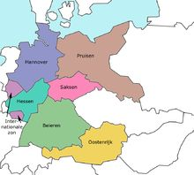 Franklin D. Roosevelt's plan for splitting up Germany following World War II, which he took with him to discuss at the Yalta Conference. He wanted to split Germany into the states of Hanover (blue), Prussia (brown), Hesse (turquoise), Saxony (pink), Bavaria (green), two International zones (purple), and an Allied-administered Austria (yellow).