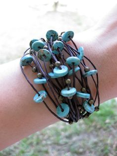 Bracelet Handmade Turquoise Stones With Nice Silver Beads Thailand Fair Trade Jewelry  (B046-T)