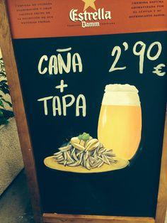 Tapa y caña en Bang Bang Barcelona Tapas, Bang Bang, Barcelona, Raw Materials, Burgers, Beer, Meals, Barcelona Spain