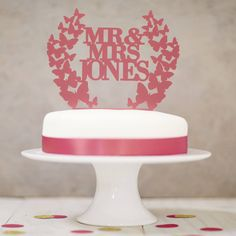 Personalised Butterfly Wreath Wedding Cake Topper from notonthehighstreet.com