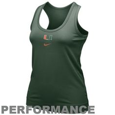 Nike Miami Hurricanes Ladies Green NikeFIT Racerback Performance Tank Top  >>>  click the image to learn more...