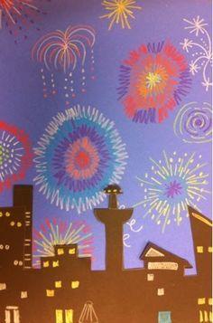 Und noch ein schönes Bild zu Silvester: Male ein buntes Feuerwerk. Schneide die Häuser aus dunklem Papier. Male die Fenster gelb an - fertig.
